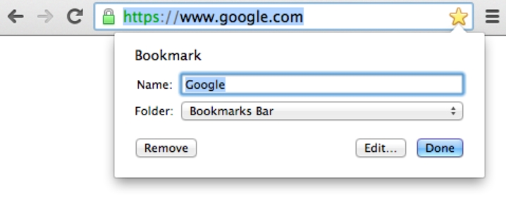 Bookmarks on Google Chrome